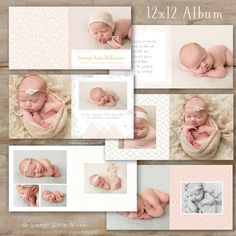 12x12 Baby Album Template for Photographers by SweetLittleMuse