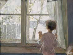 Looking out at the snowy landscape : Helene Schjerfbeck Art Painting, Window Painting, Fine Art, Painter, Painting, Illustration Art, Soviet Art, Art, Schjerfbeck