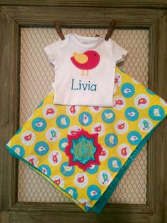 Personalized Bird Blanket Set,Embroidered Onesie And Blanket by TBEmbroidery4You on Etsy