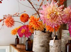 wonderful color combo with birch vases