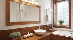 These modern wooden mirror designs changes the total look of your room. Here are our 10 simple & best wooden mirror designs in Bathroom Wall Sconces, Wooden Bathroom, Bathroom Light Fixtures, Bathroom Lighting, Bathroom Vanities, Bathroom Flooring, Bathroom Furniture, Modern Master Bathroom, Small Bathroom