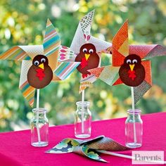 """Turkey Pinwheels are as much fun to make as they are to play with! For starters, make a turkey body and face out of construction paper and glue on googly eyes. Slide a red bead onto a straight pin and stick it through the top of the turkey's beak. Next, cut an 8 1/2"""" square out of two-sided paper. Fold it diagonally one way, then the other, then open it. Cut slits in the paper from each corner almost to the center along the diagonal lines. Fold each corner into the center, overlapping the…"""
