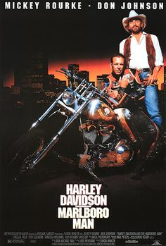 Harley Davidson and the Marlboro Man is a 1991 action biker film starring Mickey Rourke and Don Johnson . The film was written by. Mickey Rourke, Don Johnson, Harley Davidson Street, Harley Davidson News, Harley Davidson Motorcycles, Harley Bikes, Biker Movies, Man Movies, Movie Tv