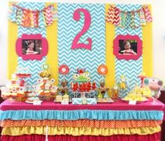 Girls 2nd birthday party themes. Pretty colors, if you can't figure out a theme!