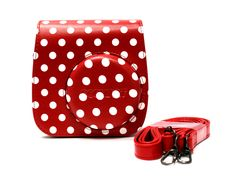 GoSmart Instax Mini PU Leather Camera Case Bag - Red Dot-GoSmart Instax Mini PU Leather Camera Case Bag features top quality and compact design, lightweight and made of extremely Durable Material. Made of PU leather, beautifully crafted and one strap Camera Case, Red Dots, Pu Leather, Mini, Crafts, Bags, Design, Handbags, Manualidades