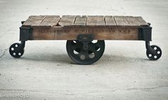 Vintage Industrial Factory Cart Coffee Table - 48L x 27w x 16.5t - furniture salvaged repurposed weathered rustic in stock. $750.00, via Etsy.