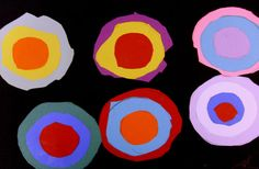 Kandisky's Circles  Children trace & cut 6 large circles, 6 median circles, & 6 small circles. Glue to black paper.