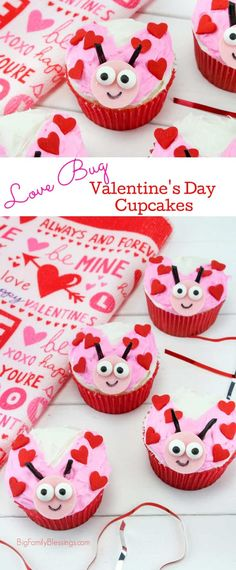 Love Bug Cupcakes Perfect Valentines dessert for kids! Simple to make and fun to eat! Valentine's Day party ready! Valentine Desserts, Valentine Day Cupcakes, Valentine Treats, Valentines Day Party, Love Valentines, Valentines Baking, Easter Treats, Cupcakes Love, Cupcakes Amor