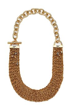 Mixed Woven Mesh Chain Toggle Gold Necklace