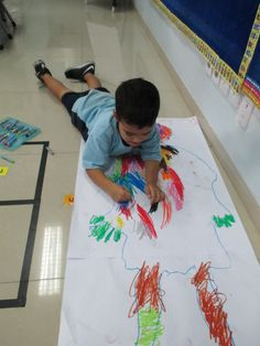 Tracing and decorating our bodies to explore who we are Our Body, Bodies, Kindergarten, Encouragement, Kids Rugs, Explore, Decorating, Learning, School