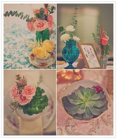 succulents and roses in colorful vases