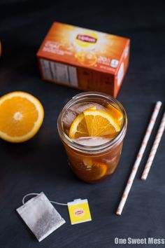 Honey Orange Iced Chai Tea: Crisp iced tea with the refreshing flavors of sweet orange and warm spices. Each cup of tea is naturally sweetened with honey. Iced Chai Tea, Chai Tea Recipe, Non Alcoholic Drinks, Beverages, Cold Drinks, Cocktails, Orange Tea, Fruit Tea, Fruit Juice