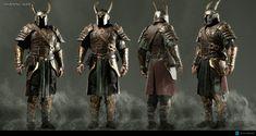 ArtStation - Middle Earth: Shadow of War - Helm Hammerhand, P-o Lévesque Fantasy Armor, Fantasy Weapons, Medieval Fantasy, Fantasy Battle, Armadura Viking, Armadura Medieval, Alien Character, Character Art, Lotr