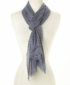 Love this Navy & White Zigzag Scarf by Top It Off on #zulily! #zulilyfinds