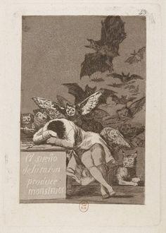 Goya, « Le sommeil de la raison engendre des monstres », eau-forte et aquatinte, 1799, Gallica/BnF