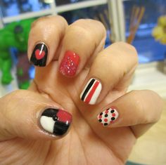 Red Black White Nails