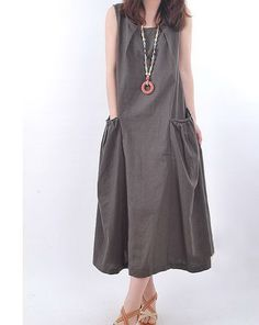 Casual Top Linen Dress 3 Colors by zeniche on Etsy, $51.00 Another beautiful, loose linen dress.