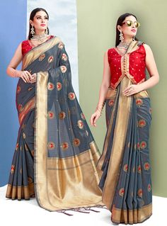 4231a752cc0dc Buy Gray Silk Saree With Blouse 144368 with blouse online at lowest price  from vast collection