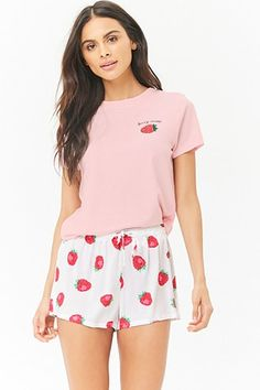 99cc48e6e3 Strawberry Print Pajama Set Cute Pajamas
