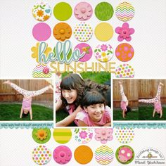Doodlebug Hello Spring Garden Layout by Mendi Yoshikawa - Punch circles from various patterned papers to use as a background for your layout. Great way to use up scraps AND use lots of patterns on one layout without overwhelming your photos! Birthday Scrapbook Pages, Kids Scrapbook, Scrapbooking Layouts, Scrapbook Supplies, Scrapbook Sketches, Photo Layouts, Hello Spring, Spring Garden, Cardmaking