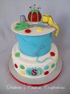 "Sewing Themed Quilt Birthday Cake - Everything is fondant and edible except for the ""needle"" parts of the pins in the pin cushion which are floral wire colored with silver food coloring. Sewing Cake, Sewing Machine Cake, Sewing Machines, Fancy Cakes, Cute Cakes, Pretty Cakes, Fondant Cakes, Cupcake Cakes, Grandma Birthday Cakes"