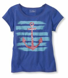#LLBean Girls' Lightweight Jersey Graphic Tee - Anchor