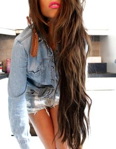 Long brown hair with Hair extensions