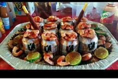 Tecate beers with mexican stylw shrimp coctails!