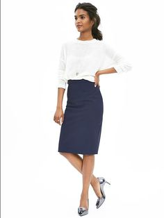 Navy Lightweight Wool Pencil Skirt and White long sleeve blouse and blue tinted silver heels | Gap.com