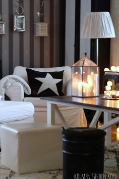 livinroom, star, candles