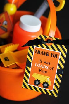 construction zone party dump truck favors #constructionbirthdayparty birthday party