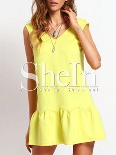 f1d208e24d3943 Yellow Ruffle V Neck Backless Drop Waist Dress EmmaCloth-Women Fast Fashion  Online