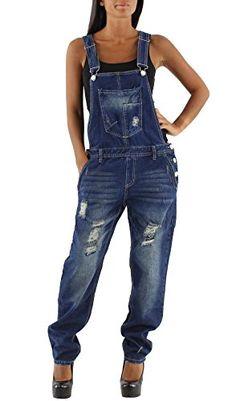 Women's Distressed Denim Dungarees Indigo Blue Fashion Overalls - http://www.darrenblogs.com/2017/03/womens-distressed-denim-dungarees-indigo-blue-fashion-overalls/