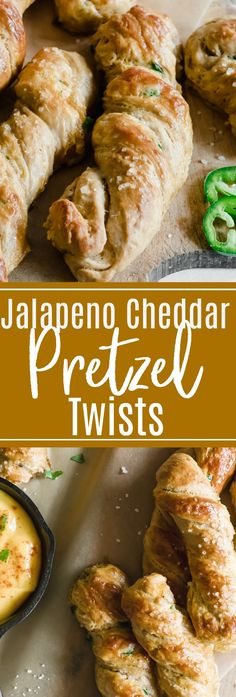 Soft and chewy pretzel twists loaded up with cheese and bits of jalapeño! The perfect salty snack.