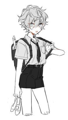 (づ。◕‿‿◕。)づ Anime Drawings Sketches, Anime Sketch, Cute Drawings, Cute Art Styles, Cartoon Art Styles, Manga Art, Anime Art, Estilo Anime, Cute Anime Boy