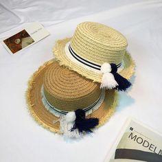 2017 Panama Sombrero Sun Hats For Women Cap Handmade Custom Striped Tassel  Hair Ball Rafael Weave Straw Hat Beach Hat Female 4d604810f8fa