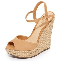 c241e640290d elhan wedges by Schutz. Braided jute covers the substantial wedge on these nubuck  Schutz sandals