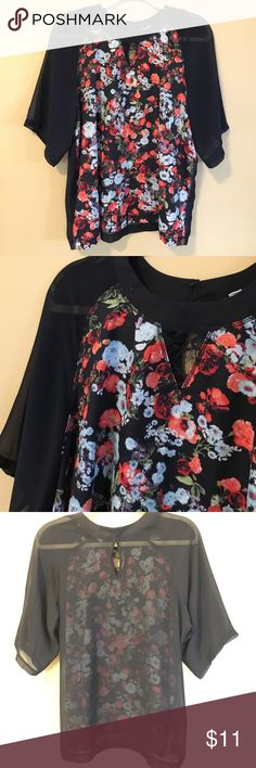BCBG Floral Sheer-backed Top This top is comfortable, glory and great for FALL! It has a hook-and-eye closure on the back collar and the back of the top is sheer. BCBGeneration Tops Blouses