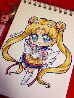 Quick copic coloured chibi of Eternal Sailor Moon~~   #fanart #sailormoon #sm