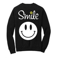 Super-soft crew-neck charcoal sweatshirt with Smile graphics on front.  As seen on TV!
