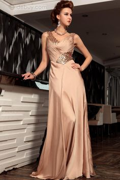 45fa8db85888 Noble V-Neck A-Line Beading Ruched Long Evening Dress