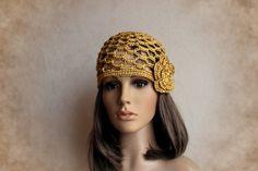 Mütze  Häkelmütze  Stil 20er gold von Filantrop-MODE auf DaWanda.com