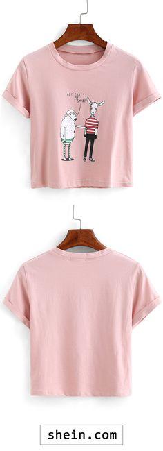 Sheep Print Crop T-shirt