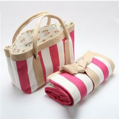 A luxurious hand made picnic rug and matching bag set that will add glamour and style to any occasion. Pink and white stripe Picnic Blanket, Outdoor Blanket, Pink And White Stripes, Bag Making, Diaper Bag, Personalized Gifts, Reusable Tote Bags, Garden, Camping Supplies