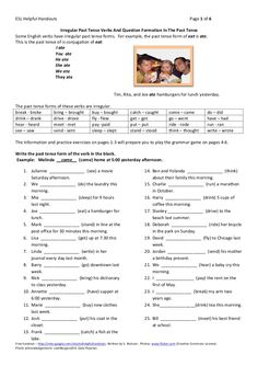 Irregular past tense verbs and question formation worksheets