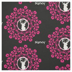 So Pretty and on trend in pink, black and white this floral framed cute stag deer head fabric design is a favourite with girls who love all things pink and girly. Don't forget to customize it with a personal name or monogram; available in a choice of lengths and fabric styles to suit all your craft and sewing project needs.