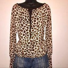 Tory Burch Leopard Victorian Cuff Long Sleeve Top