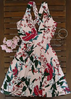 Dress Us Vestido estampado com alça larga transpassado costas Ref:111992 - VESTIDOS RODADOS