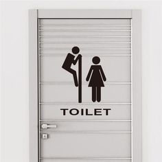 New Funny Toilet Sticker Vinyl Wall Stickers Decal Toilet Entrance Sign Removable Lettering Art Home Mural Decor For Toilet Door(China)