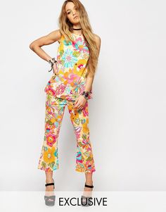 Reclaimed+Vintage+60's+High+Rise+Kick+Flare+Trousers+In+Bold+Floral+Print+Co-Ord